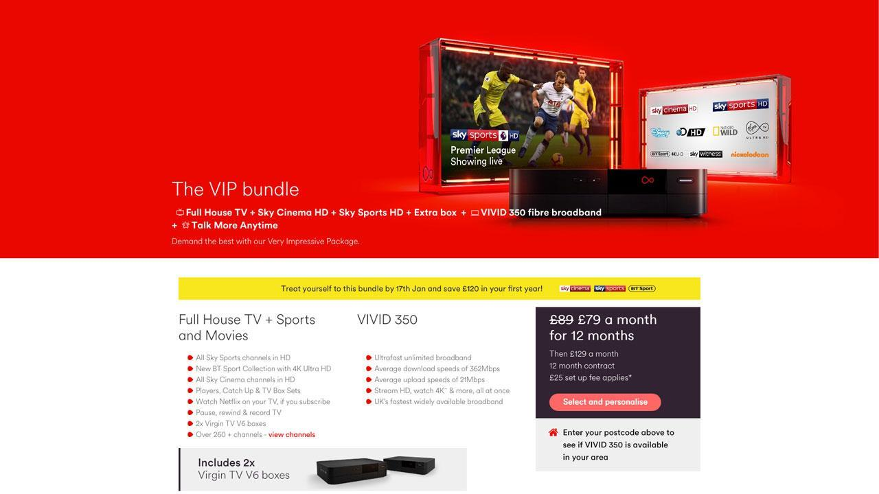 Virgin Media Flash Sale on VIP TV Bundle